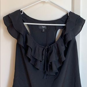 Black ruffle top. Perfect for work or a date!